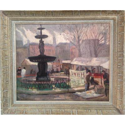 Peintre Russe, Place Pigalle Un Jour De Fête, 1936, Huile Sur Toile, Signé Et Daté