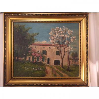 GASTON  BALANDE, La maison de famille en Vendée, Huile sur toile, 55 x 46,6 cm