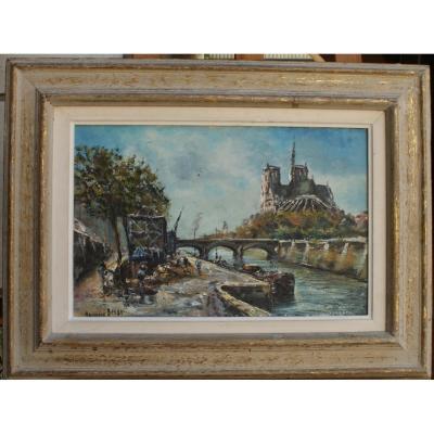 Raymond Besse, Sablière Sur Les Quais De Seine, Huile Sur Toile, 40,5 X 27 Cm