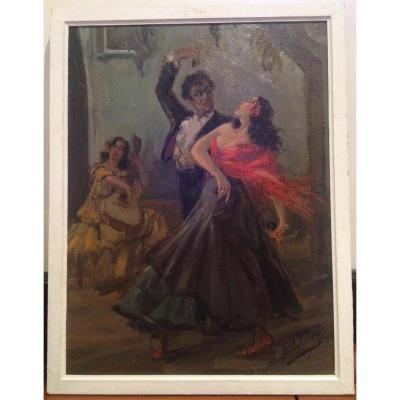 Yves Diey, Flamenco Dans Un Cabaret De Grenade, Huile Sur Toile, 65 X 50 Cm, Signé