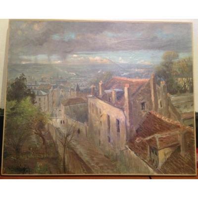 Henri Vignet, Vue De Rouen Depuis Les Hauteurs, Huile Sur Toile, 61 X 50cm, Signé
