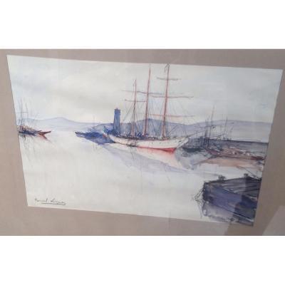 Bernard Lignon, Saint Tropez, Watercolor, 40 X 28 Cm, Signed