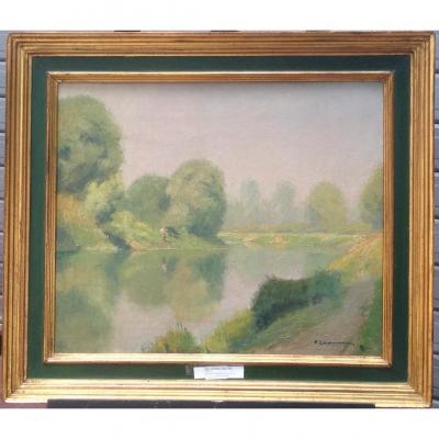 Pierre Ladureau, Fisherman, Oil On Canvas, Signed, 68 X 60cm