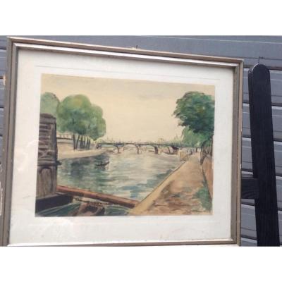 André Malterre, Les Ponts De Seine à Paris, Aquarelle, Signée, 43 X 36 Cm