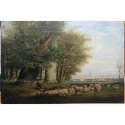 Carl Eduard Ahrendts Le Vieux, Troupeau Dominant La Ville, Huile Sur Bois, 26 X 38 Cm