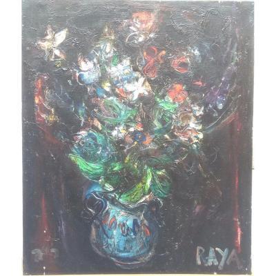 Raya Sorkine, Bouquets Et Papillons, Huile Sur Toile, 1981