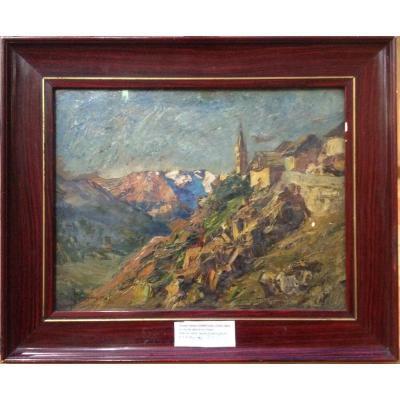 Joseph Victor Communal, Le Clocher Dans La Montagne, Huile Sur Carton, 30 X 40 Cm