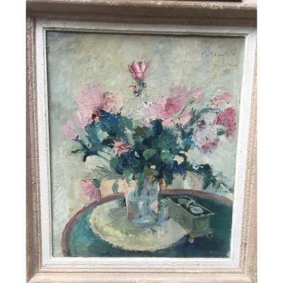 Vladimir De Terlikowski, Bouquet De Fleurs, Huile Sur Toile, 69 X 60 Cm