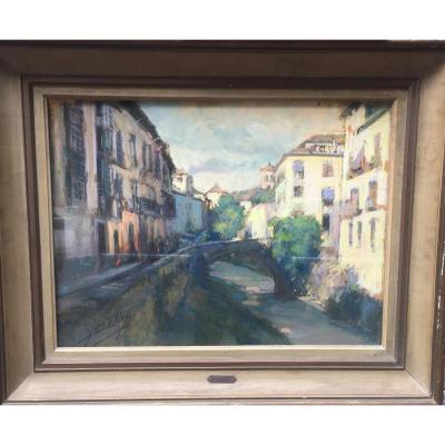 Yves Diey, l'Entrée Du Paillon à Nice, Pastel, 46 X 61 Cm