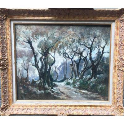 Marcel Parturier, Huile sur Toile. (Dim  92 x 79 cm.)