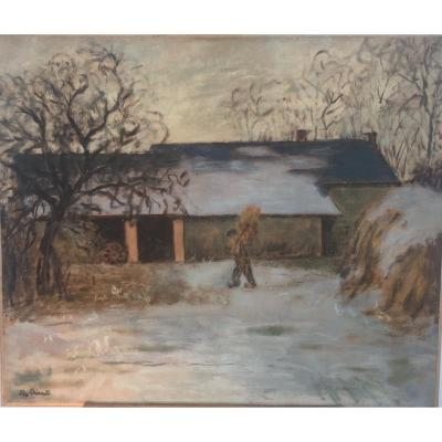 Marthe Orant, Courtyard Snowy Farm, Oil On Canvas, 46 X 55 Cm