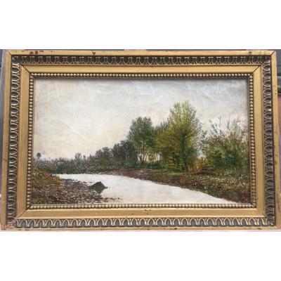 Emile G. Cavallo-peduzzi, Bras De La Marne à Germantés, Vers 1888, Huile Sur Toile, 30 X 46 Cm