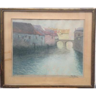 Frits Thaulow, Tanneries Sur La Somme à Amiens, Aquatinte, 68 X 79 Cm