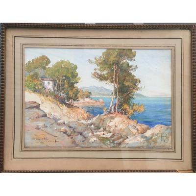 Emile Appay, Riviera, Aquarelle, 56 X 72 Cm