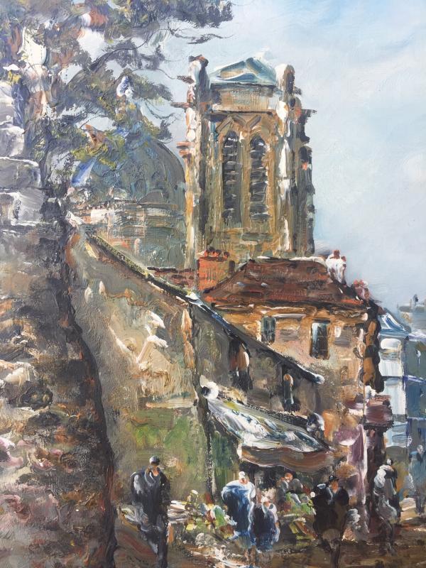 Raymond Besse, Saint Etienne Du Mont Church, Oil On Canvas, 50 X 100 Cm-photo-4