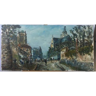 Raymond Besse, Eglise Saint Etienne Du Mont, Huile Sur Toile, 50 X 100 Cm