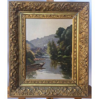Charles Hallé, Bord de rivière, Huile sur panneau , 40 x 48 Cm