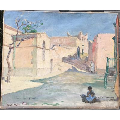 Constantin Font, Rue De Sidi Bou Said, Huile Sur Toile, 46 X 55 Cm, Signée