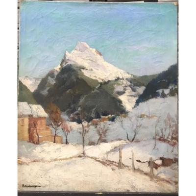 Paul-marcel Balmigère, Lac Lovitel En 1926, huile sur toile, 46 X 55 Cm