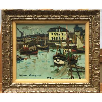 Jacques Bouyssou, Le Bassin d'Honfleur, 1963, Oil On Canvas, 30 X 35 Cm