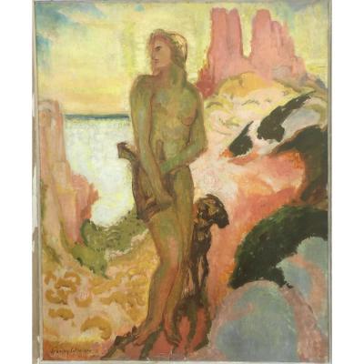 François Quelvée, Apollo At La Lyre, Circa 1920, Oil On Canvas, 65 X 81 Cm