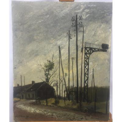 Aimé-Daniel Steinlen, Maison du Garde Barrière en Flandres, c.1975, Huile sur toile, 50 X 61 cm