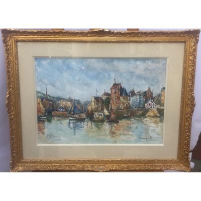 Robert L.P. Lavoine, Port d'Honfleur, aquarelle, 51 x 65 cm