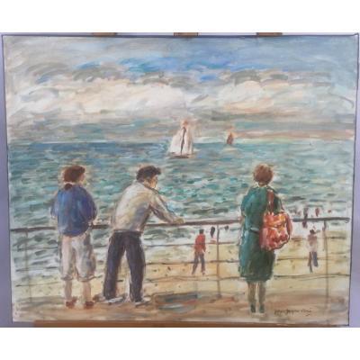 Jean-Jacques René, Scène de plage normande, huile sur toile, 45 x 55 cm