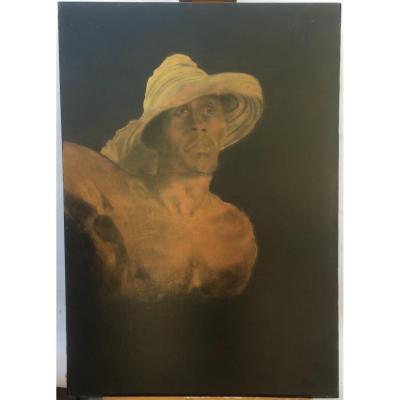Fossier Pel., Coupeur de cannes cubain, huile sur toile, 92 x 65 cm