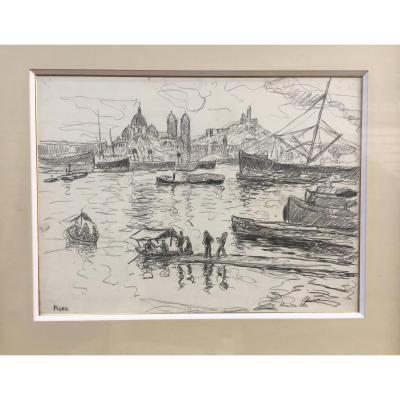 Jean Peské, Marseille, Crayon Gras, 43 X 52,5 Cm
