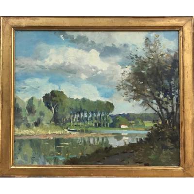 Paul Morchain, Lac italien, circa 1900,  huile sur bois, 40 x 60 cm