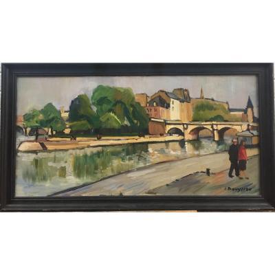 Jacques Bouyssou, Paris, Le Pont Neuf, Huile sur toile, mai 1951, 60 x 110 cm