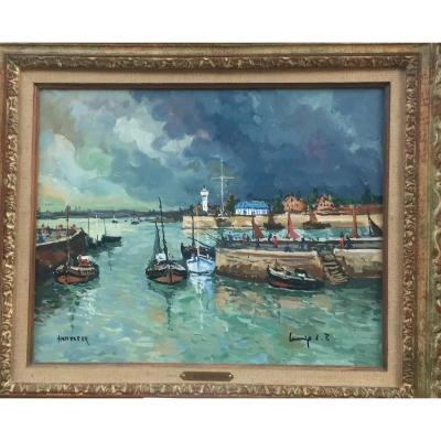 Robert L.p. Lavoine, Port d'Honfleur, Huile sur toile, 51 x 61 cm