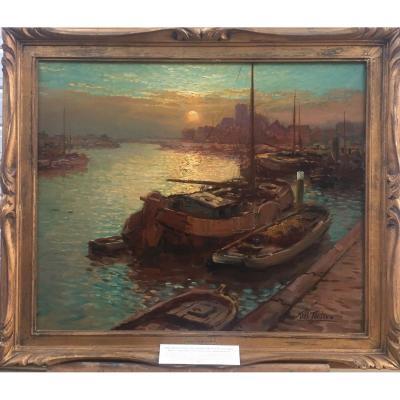 Kees Terlouw, Port de Dordrecht, huile sur toile, 66 x 77 cm