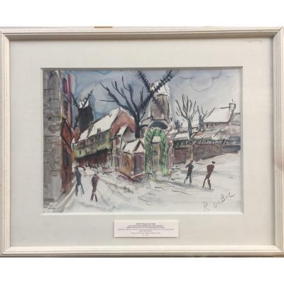 Roland Dubuc, The 2 Last Moulins De Paris, Moulin De La Galette, Oil On Canvas, 54 X 68