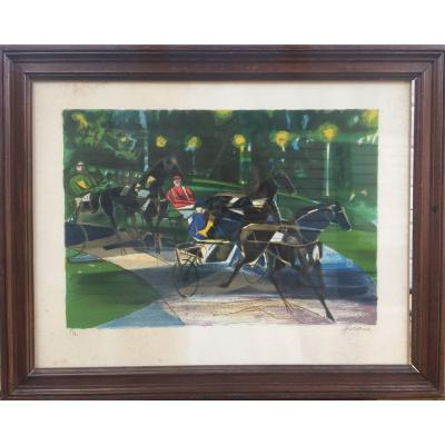 Camille Hilaire, Les courses, lithographie en couleurs, 61 x 77 cm