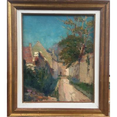 Charles Frolich, Village, huile sur toile, 45 x 52 cm