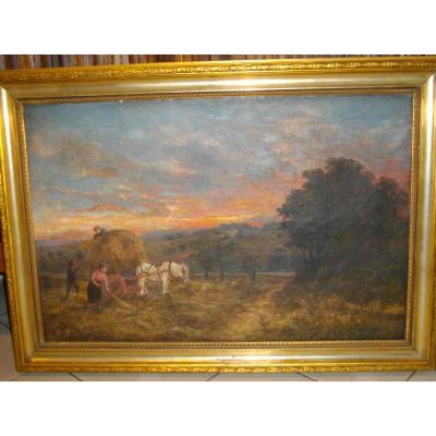 English School Nineteenth Oil / Canvas 51 X 76 Cm Circa 1877