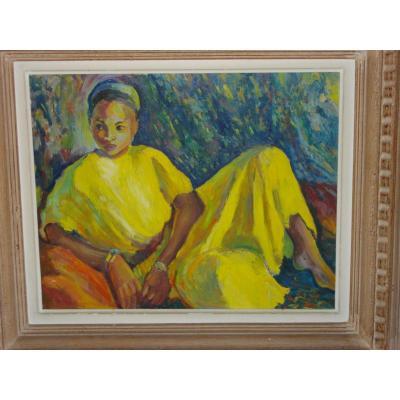 Jeune Fille à La Robe Jaune H/p 49 X 60 Cm