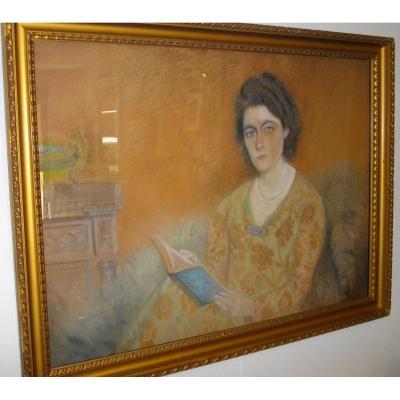 Portrait De Femme 1940 Signé Bertin
