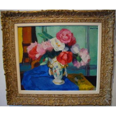 The Peonies By Charles Kvapil (1884 - 1957) Oil / Canvas