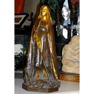 Raoul Larche Bronze Young Shepherdess