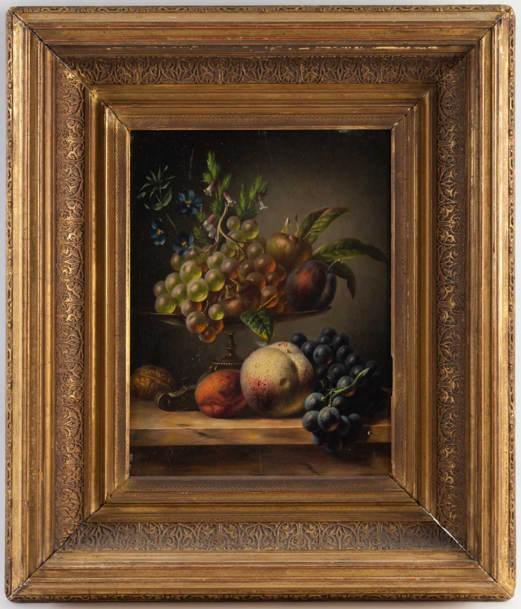 Still Life With Fruits, Signed And Dated Johannes Reekers II 1856