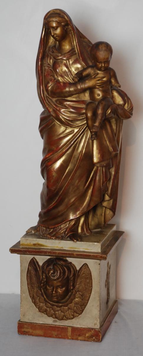 Vierge à l'Enfant En Bois Doré d'époque Louis XIV