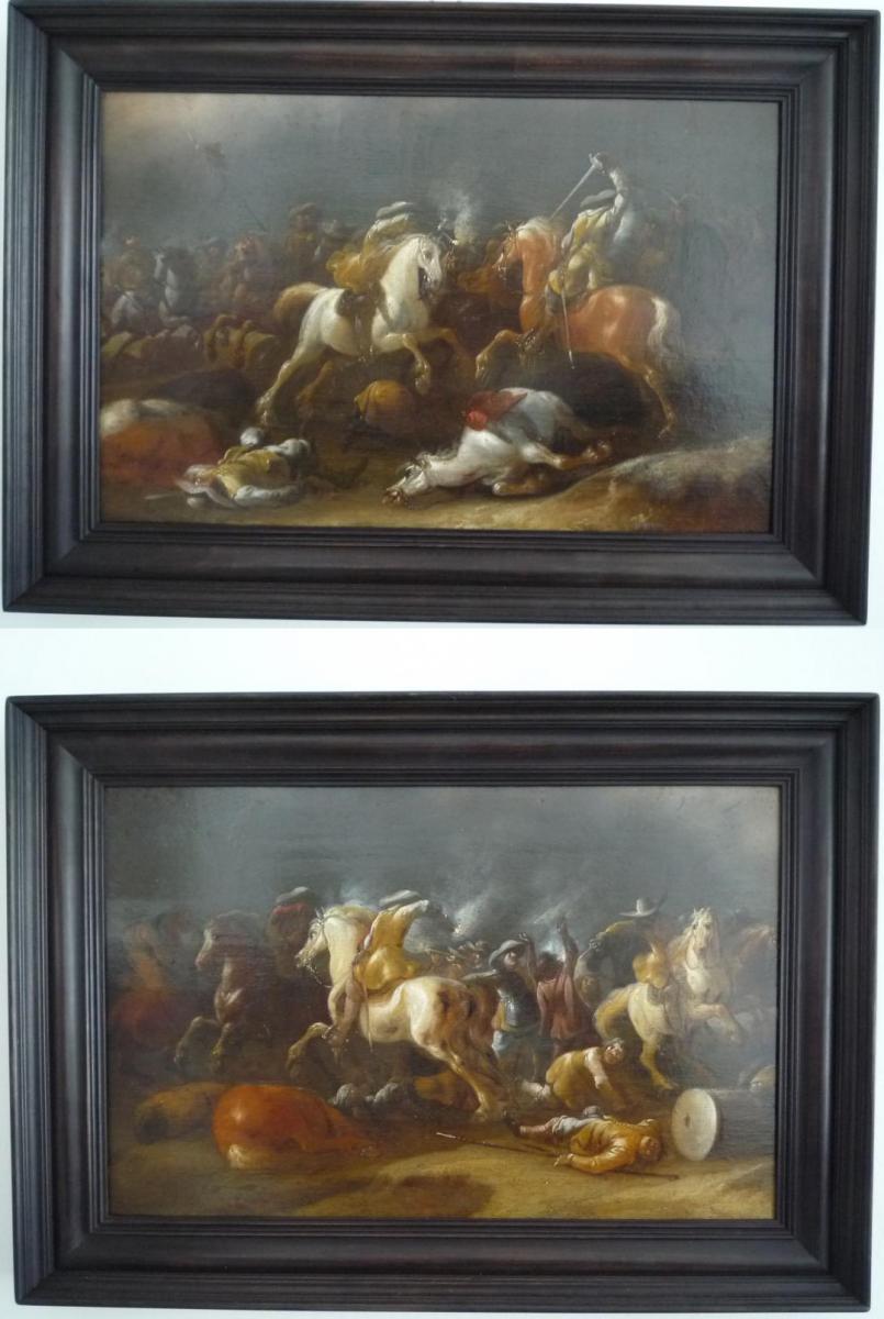 Choc de cavalerie  Jan Jacobsz van der Stoffe,paire de panneaux de chêne école Hollandaise XVII