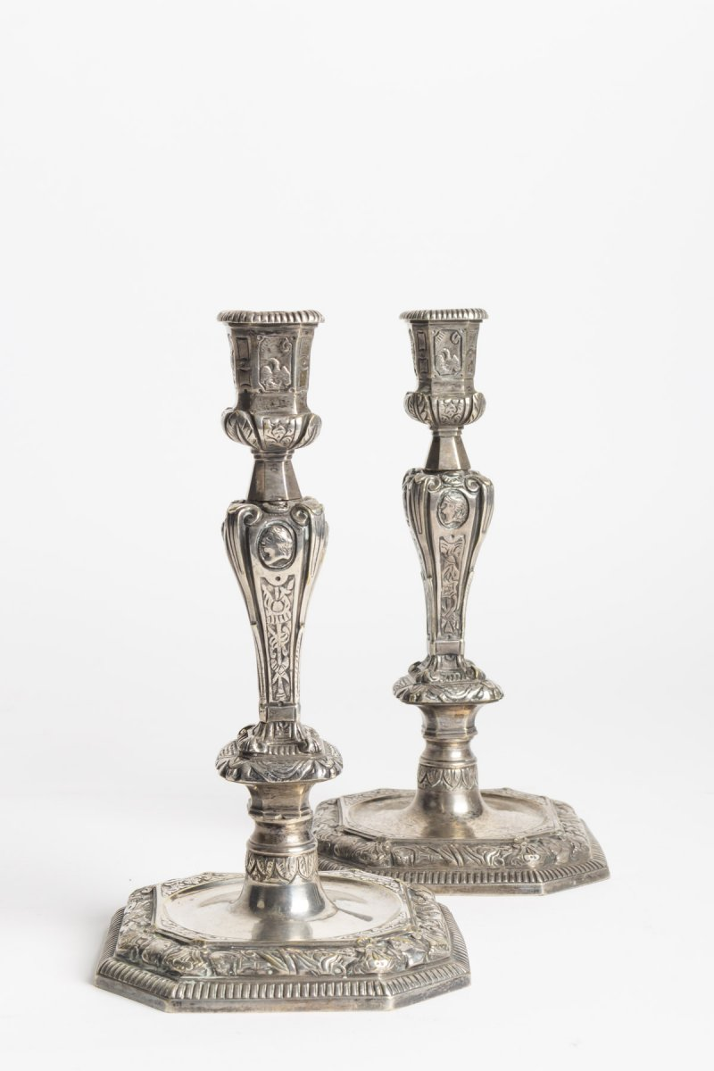 Pair Of Candlesticks Louis XIV Style In Silver Bronze