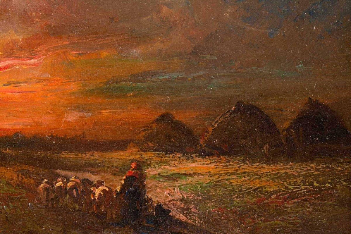 Bergere Rentrant Ses Moutons Le Soir  Huile Sur Panneau-photo-3