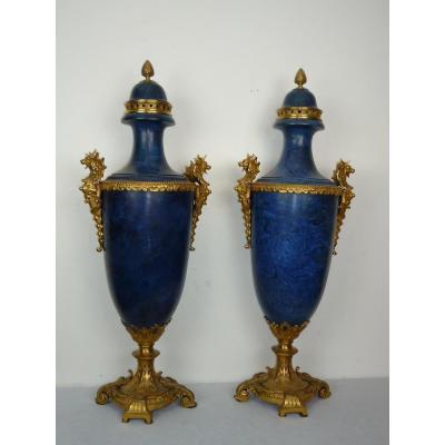 Paire d'Importants Vases (80cm) Vers 1860