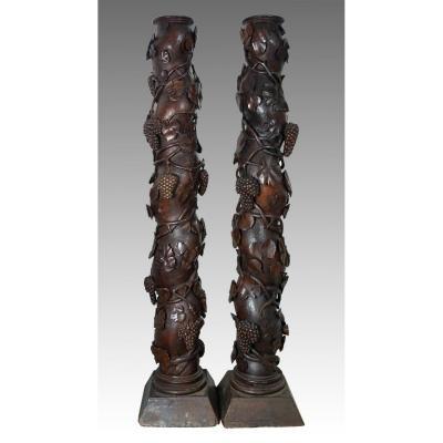 paire de colonnes torses 18 eme siecle