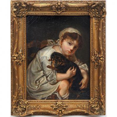 l'Enfant jouant avec un chien d'aprés Jean Baptiste Greuze